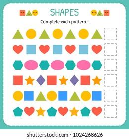 Complete each pattern. Learn shapes and geometric figures. Preschool or kindergarten worksheet. Vector illustration