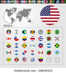 Complete flag collection, round shapes, America