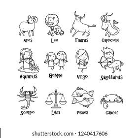 Complete full set of Zodiac symbols icon, hand drawn vector cartoon illustration of cute zodiac signs