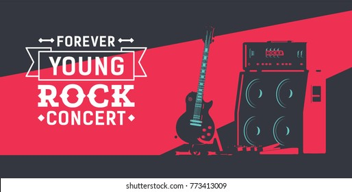 Complete Guitar Stage Set Flat Vector Illustration. Guitar with Pedalboard Next to Tube Amplifier 4x12 Stack. Rock Event Poster Concept. High Contrast Lighting.