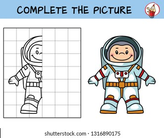 Complete the picture of a astronaut. Copy the picture. Coloring book. Educational game for children. Cartoon vector illustration