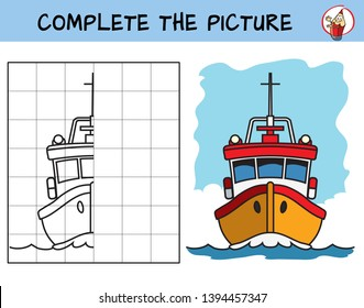 Complete the picture of a boat. Copy the picture. Coloring book. Educational game for children. Cartoon vector illustration