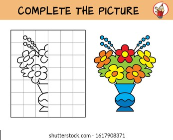 Complete the picture of a bouquet of flowers in the vase. Copy the picture. Coloring book. Educational game for children. Cartoon vector illustration
