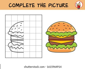 Complete the picture of a burger. Copy the picture. Coloring book. Educational game for children. Cartoon vector illustration
