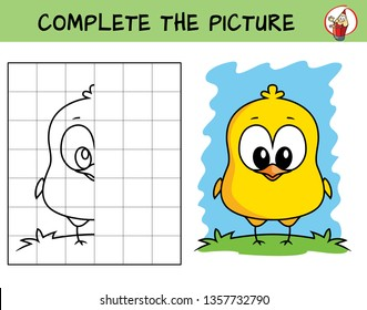 Complete the picture of a funny chicken. Copy the picture. Coloring book. Educational game for children. Cartoon vector illustration