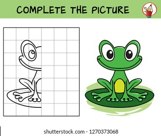 Complete the picture of a funny frog. Copy the picture. Coloring book. Educational game for children. Cartoon vector illustration