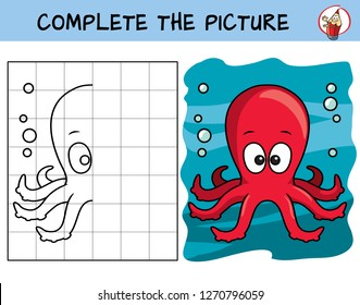 Complete the picture of a funny octopus. Copy the picture. Coloring book. Educational game for children. Cartoon vector illustration