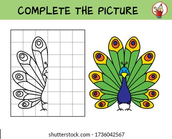 Complete the picture of a funny peacock. Copy the picture. Coloring book. Educational game for children. Cartoon vector illustration