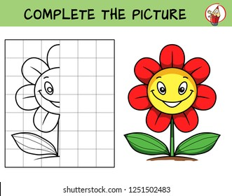 Complete the picture of a funny smiling flower. Copy the picture. Coloring book. Educational game for children. Cartoon vector illustration