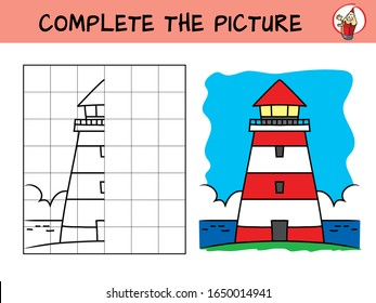 Complete the picture of a lighthouse. Copy the picture. Coloring book. Educational game for children. Cartoon vector illustration