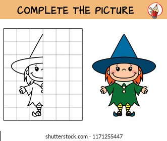 Complete the picture of a little witch girl. Copy the picture. Coloring book. Educational game for children. Cartoon vector illustration