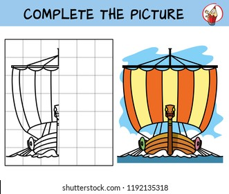 Complete the picture of viking ship. Copy the picture. Coloring book. Educational game for children. Cartoon vector illustration