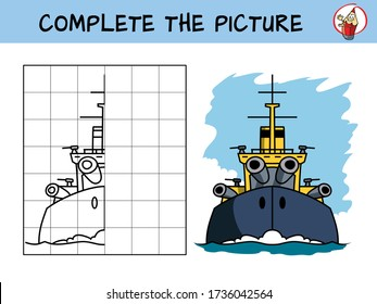 Complete the picture of a war ship. Copy the picture. Coloring book. Educational game for children. Cartoon vector illustration