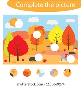 Complete the puzzle and find the missing parts of the picture, autumn,  fun education game for children, preschool worksheet activity for kids, task for the development of logical thinking, vector