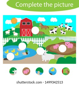 Complete the puzzle and find the missing parts of the picture, farm fun education game for children, preschool worksheet activity for kids, task for the development of logical thinking, vector