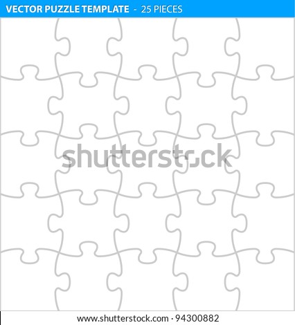 complete puzzle jigsaw template print 25 のベクター画像素材