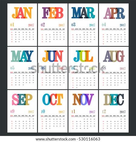 complete set 12 months 2017 calendar stock vector royalty free