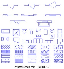 Architecture blueprint symbol images stock photos vectors complete set of blueprint icons and symbols used by architects and designers in the production of malvernweather Gallery