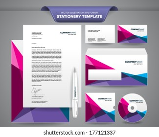 Complete set of business stationery templates such as letterhead, envelope, business card, etc with colourful and impressive brand identity.