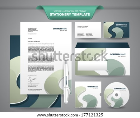 Complete set business stationery templates such stock vector complete set of business stationery templates such as letterhead envelope business card etc friedricerecipe Images