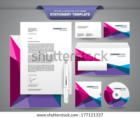 Complete set business stationery templates such stock vector complete set of business stationery templates such as letterhead envelope business card etc friedricerecipe Choice Image