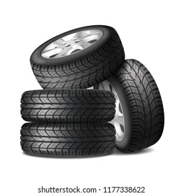 Complete set of car wheels with alloy rims and new tires realistic composition vector illustration