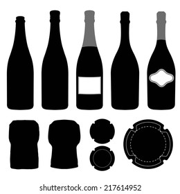Complete set of champagne. Silhouette bottles, cork, label and metal cap. Template designer. Vector eps10