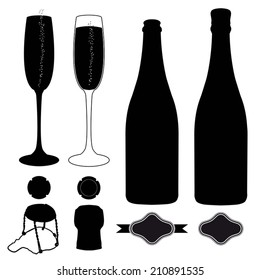 complete set of champagne. Silhouette of glass, bottle, cork, label, metal cap and cork wire cage. vector