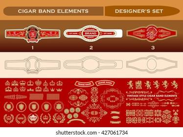 A complete set for cigar labeling design. Vector elements
