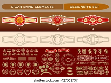 A complete set for cigar labeling design. Vector elements