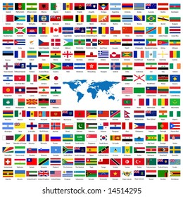 Complete set of Flags of the world sorted alphabetically with official colors and details