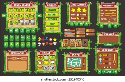 Complete set of graphical user interface (GUI) to build 2D video games