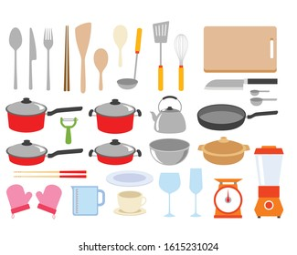 complete set of kitchen equipment,  vector illustration