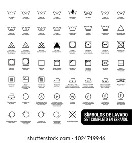 Complete set of laundry symbols. Written in spanish.