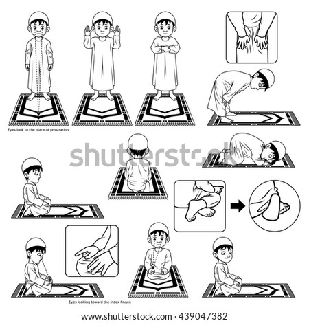 Complete Set Muslim Prayer Position Guide Stock Vector Royalty Free