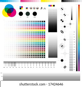 Complete set ofDesktop publishing graphic symbol utilities; good for printing tests. In detail: Registration marks, four process ramps and thickness ramps.