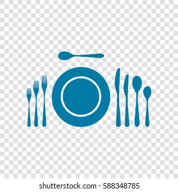 Complete set of silverware for dinner. Vector. Cerulean icon on transparent background.