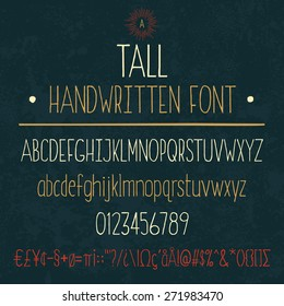 Complete set of tall handwritten letters and numbers with symbols