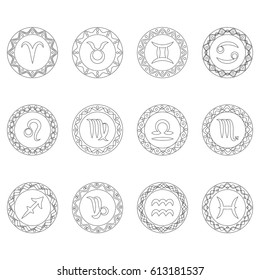 complete set twelve signs of zodiac symbols in round frames - black and white outline - adult coloring book page