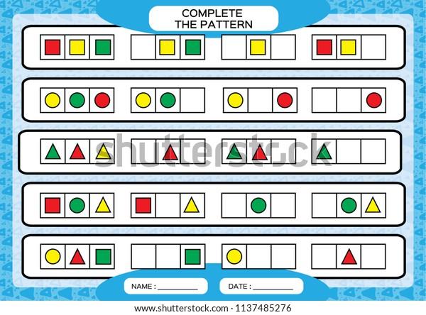 Complete Simple Repeating Patterns Worksheet Preschool
