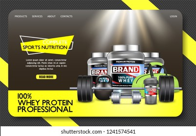 Complete sports nutrition landing page website template. Vector realistic illustration. Nutritional supplements whey protein product brand. Fitness and healthy lifestyle concept.
