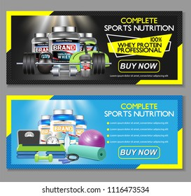 Complete sports nutrition vector horizontal banner set. Sports nutrition supplements whey protein and creatine powder brand advertising web templates.