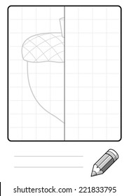 Complete the Symmetrical Drawing: Acorn (one page drawing task)