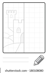 Complete the Symmetrical Drawing: Castle (one page drawing task)