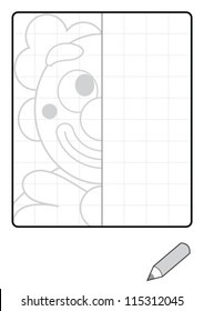 Complete the Symmetrical Drawing: Clown (one-page drawing task with grid)