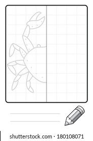 Complete the Symmetrical Drawing: Crab (one page drawing task)
