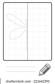 Complete the Symmetrical Drawing: Dragonfly (one page drawing task)