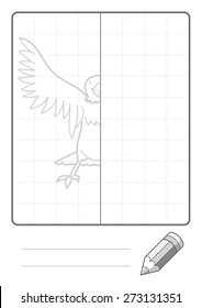Complete the Symmetrical Drawing: Eagle (single page drawing task)