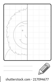 Complete the Symmetrical Drawing: Eskimo (single page drawing task)