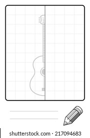 Complete the Symmetrical Drawing: Guitar (single page drawing task)